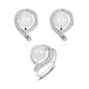 Rhinestone Ball Ring and Earring Set
