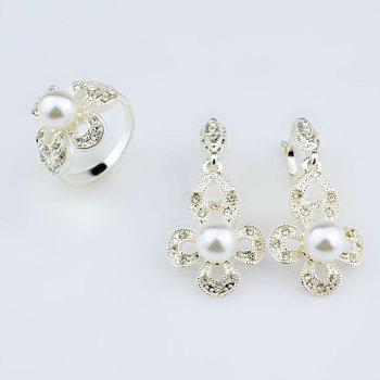 Faux Pearl Rhinestone Earring and Ring Set