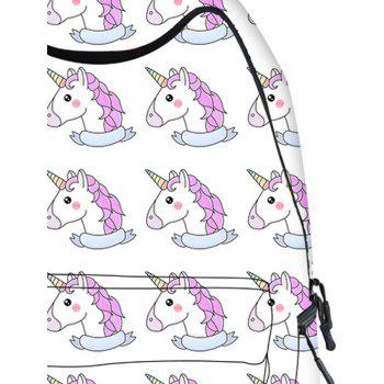 Cartoon Unicorn Printed Backpack - WHITE