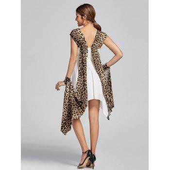 Cuffed Leopard Cape Handkerchief Dress - WHITE L