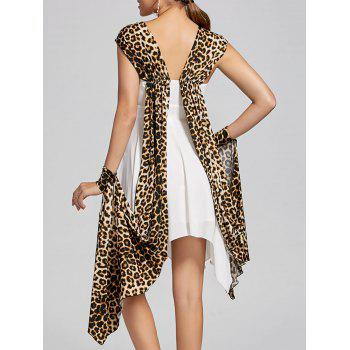 Cuffed Leopard Cape Handkerchief Dress