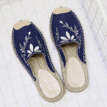 Braided Toe Cap Embroidered Espadrille Mules - BLUE BLUE