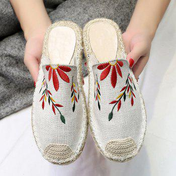 Braided Toe Cap Embroidered Espadrille Mules - BEIGE 39
