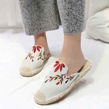 Braided Toe Cap Embroidered Espadrille Mules - BEIGE BEIGE