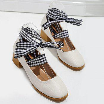 Block Heel Square Toe Lace Up Pumps - Abricot 38