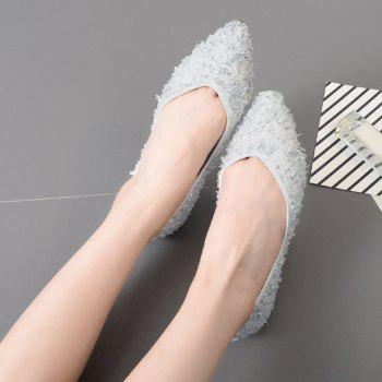 Chaussures plates en strass pointues - Argent 40