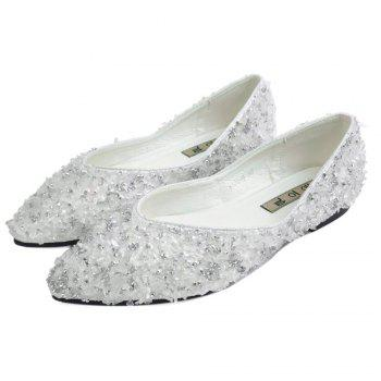 Pointed Toe Rhinestones Flat Shoes - SILVER 40