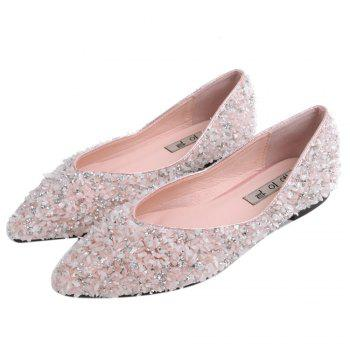 Pointed Toe Rhinestones Flat Shoes - 40 40