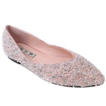 Pointed Toe Rhinestones Flat Shoes - PINK 38
