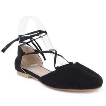 Round Toe Tie Up Flat Shoes - BLACK 37