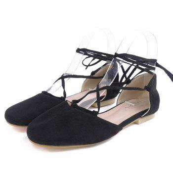 Round Toe Tie Up Flat Shoes - BLACK 39