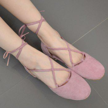 Round Toe Tie Up Flat Shoes - PINK 39