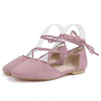 Round Toe Tie Up Flat Shoes - PINK 40