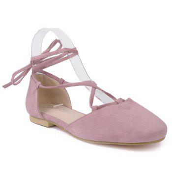Round Toe Tie Up Flat Shoes - PINK 38