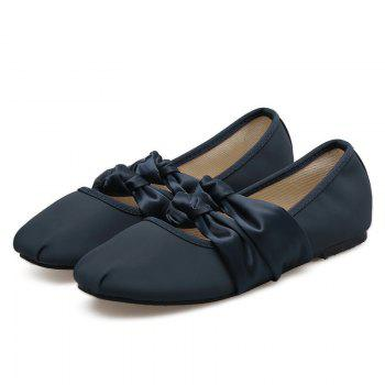Double Bowknot Round Toe Flat Shoes - CADETBLUE 37