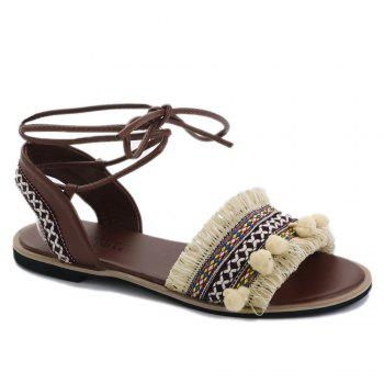 Flat Fringe Pom Pom Lace-up Sandals - APRICOT 37