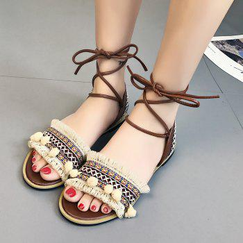 Flat Fringe Pom Pom Lace-up Sandals - 37 37