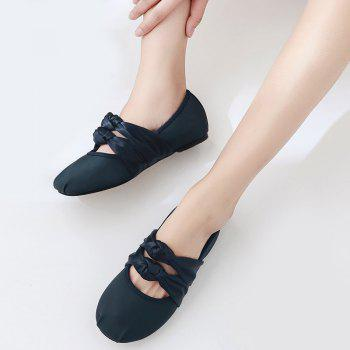 Double Bowknot Round Toe Flat Shoes - 39 39
