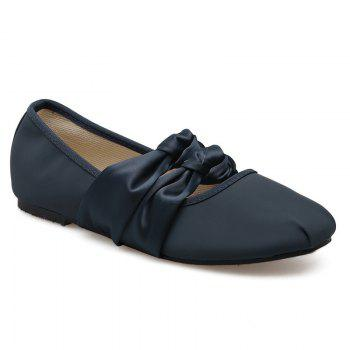 Double Bowknot Round Toe Flat Shoes - CADETBLUE 39