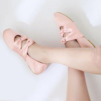 Double Bowknot Round Toe Flat Shoes - PINK 39