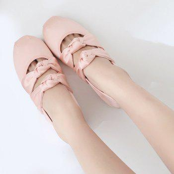 Double Bowknot Round Toe Flat Shoes - 37 37