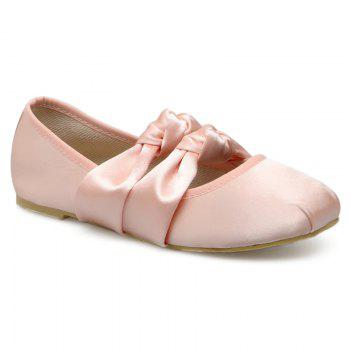 Double Bowknot Round Toe Flat Shoes - PINK 37