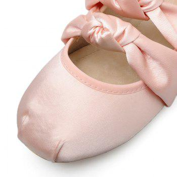 Double Bowknot Round Toe Flat Shoes - PINK 38