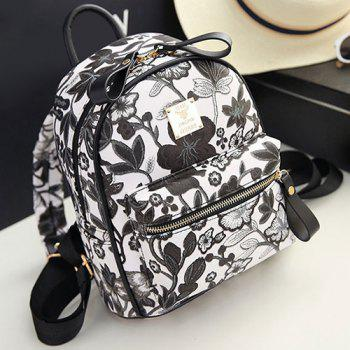 Faux Leather Floral Backpack - BLACK