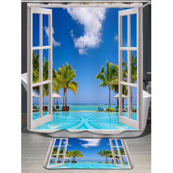 Window Scenery Coconut Trees Bath Curtain and Rug