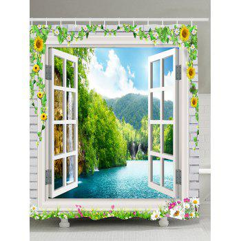Flowers Window Scenery Waterproof Shower Curtain