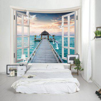 Window Sea Bridge Print Tapestry Wall Hanging Art - bleu océan W59 INCH * L51 INCH