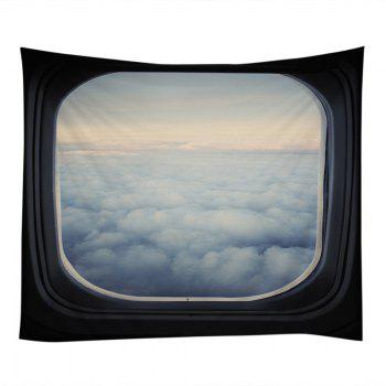Window Cloud View Print Tapestry Wall Hanging Art - Blanc W79 INCH * L59 INCH