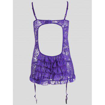 Lace Sheer Plus Size Slip Babydoll - Violet Clair 4XL