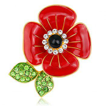 Plated Rhinestone Inlay Poppy Design Brooch
