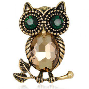 Retro Faux Crystal Inlaid Owl Design Brooch