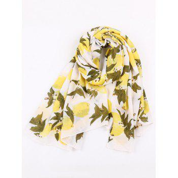Lemon Pattern Cotton Blended Shawl Scarf - YELLOW