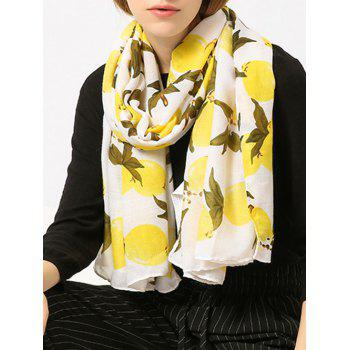 Lemon Pattern Cotton Blended Shawl Scarf - YELLOW YELLOW
