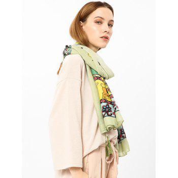 Ethnique Pattern Pattern Tassels Embellished Shawl Scarf - GREEN