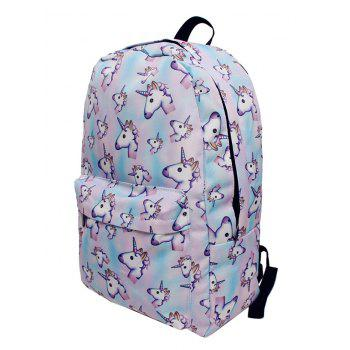 Cartoon Unicorn Print Backpack - PINKISH BLUE