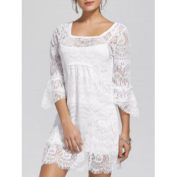 Square Neck Mini See Through Lace Dress