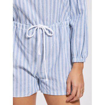 Trendy Striped Off The Shoulder Lace-Up Romper For Women - STRIPE S