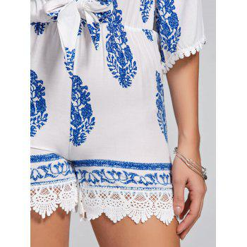 Charming Leaf Printed 1/2 Sleeve Plunging Neck Romper For Women - WHITE L