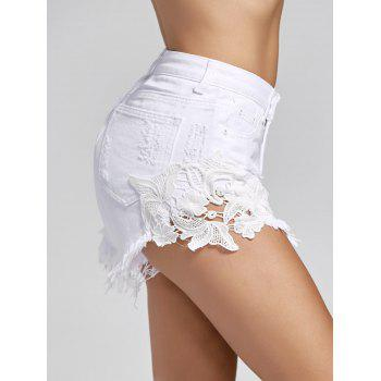 High Waist Lace Trim Denim Mini Shorts