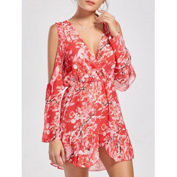 Ruffle Slit Sleeve Floral Low Cut Romper - RED L