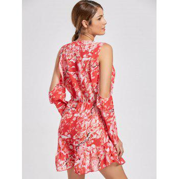 Ruffle Slit Sleeve Floral Low Cut Romper - RED RED