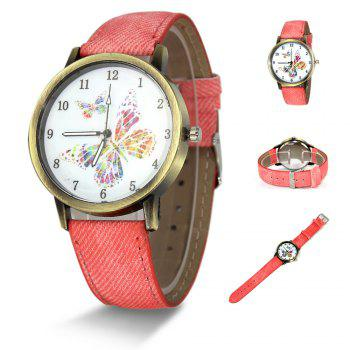 Butterfly Face Faux Leather Watch - PINK