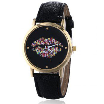 Lip Face Faux Leather Watch