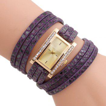 Faux Leather Wrap Braclet Rectangle Watch