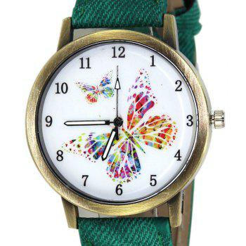 Butterfly Face Faux Leather Watch - GREEN