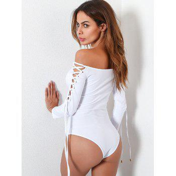 Lace Up Long Sleeve Off Shoulder Bodysuit - WHITE WHITE